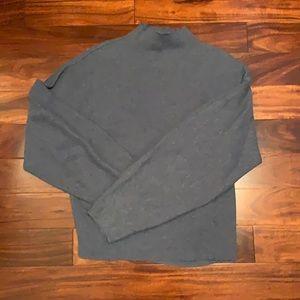 H&M blue grey balloon sleeve mock neck sweater